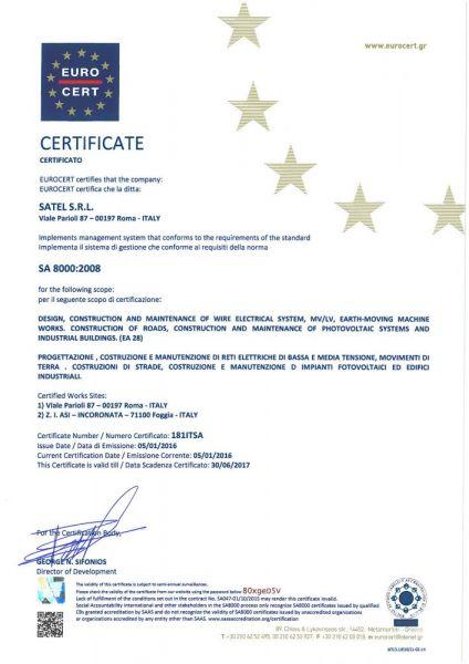 CERTIFICATE-SA8000